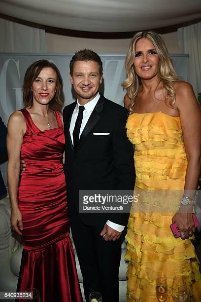 Silvia Grilli Jeremy Renner and Tiziana Rocca attend Baume Mercier 62 Taormina Film Fest on June 17 2016 in Taormina Italy
