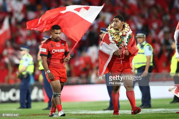 Silvia Havili and Jason Taumalolo of Tonga following during the 2017 Rugby League World Cup Semi Final match between Tonga and England at Mt Smart...