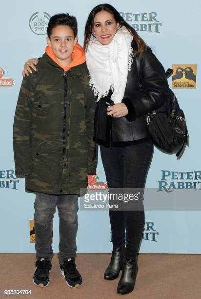 Silvia Jato and nephew attend the 'Peter Rabbit' premiere at Capitol cinema on March 20 2018 in Madrid Spain