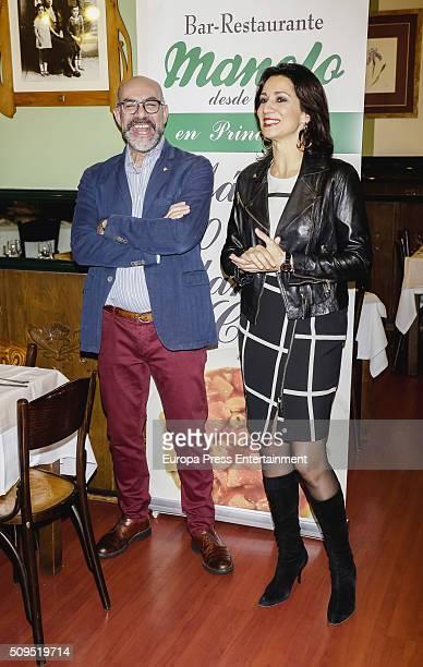 Silvia Jato presents the Madrilene stew by Manolo restaurant during the VI Ruta del Cocido Madrileno at Manolo restaurante on February 10 2016 in...