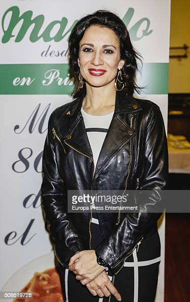 Silvia Jato presents the Madrilene stew by Manolo restaurant during the VI Ruta del Cocido Madrileno at Manolo restaurante on February 10 2016 in...