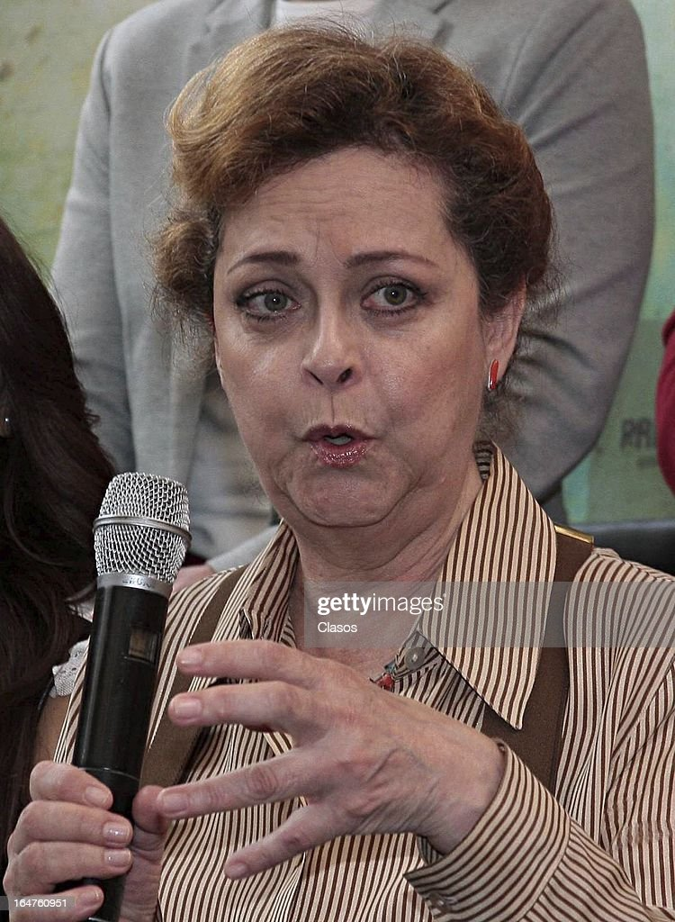 Silvia Mariscal of 'Los Arboles Mueren de Pie' talks during the press conference before the start of the shooting of the film on March 27, 2013, in Mexico City, Mexico.