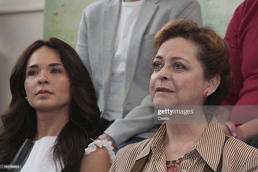 Silvia Mariscal of 'Los Arboles Mueren de Pie' talks next to Adriana Louviere during the press conference before the start of the shooting of the film on March 27, 2013, in Mexico City, Mexico.