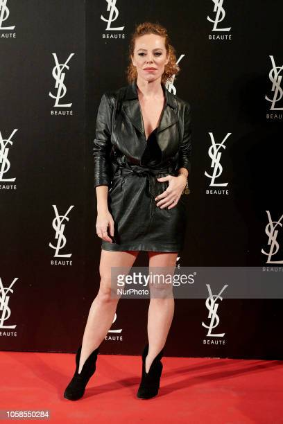 Silvia Marti attends the YVES SAINT LAURENT THE SLIM Rouge PurCouture party photocall at Santona Palace in Madrid on October 6 2018