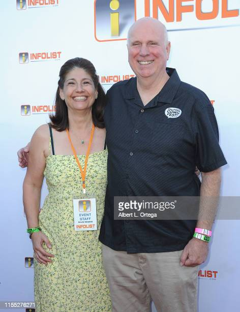 Silvia Masera and Mike Towry attend InfoListcom's PreComicCon Bash held at Wisdome Immersive Art Park on July 11 2019 in Los Angeles California