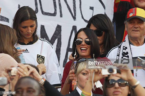 Silvia Meichel girlfriend of Mario Gomez and Anna Maria Lagerblom girlfriend of Mesut Oezil attend the 2010 FIFA World Cup South Africa Round of...