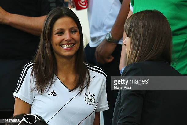 L'VIV UKRAINE JUNE 17 Silvia Meichel girlfriend of Mario Gomez looks on prior to the UEFA EURO 2012 group B match between Denmark and Germany at...