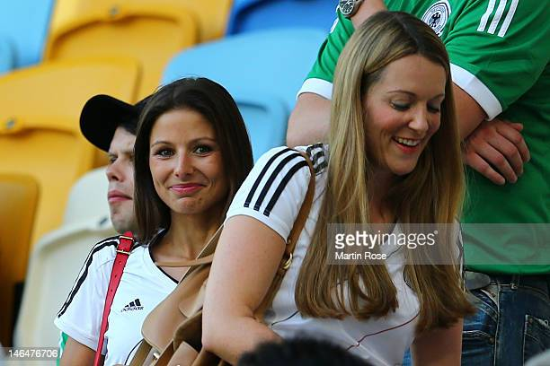 L'VIV UKRAINE JUNE 17 Silvia Meichel girlfriend of Mario Gomez loos on prior to the UEFA EURO 2012 group B match between Denmark and Germany at Arena...