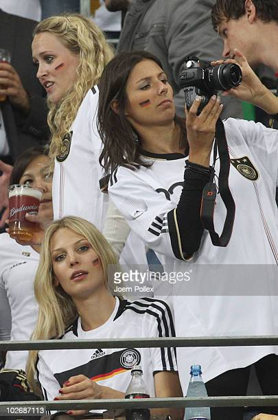 Silvia Meichel girlfriend of Mario Gomez of Germany and Bastian Schweinsteiger's girlfriend Sarah Brandner attend the 2010 FIFA World Cup South...