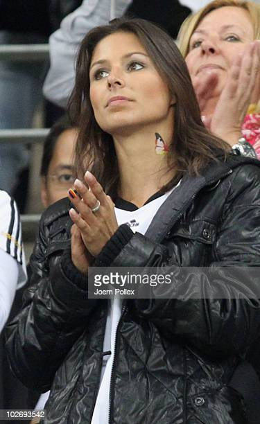 Silvia Meichel girlfriend of Mario Gomez of Germany attends the 2010 FIFA World Cup South Africa Semi Final match between Germany and Spain at Durban...