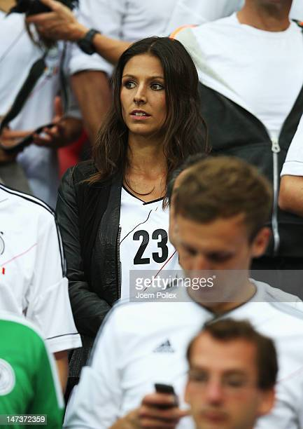 Silvia Meichel girlfriend of Mario Gomez of Germany during the UEFA EURO 2012 semi final match between Germany and Italy at the National Stadium on...