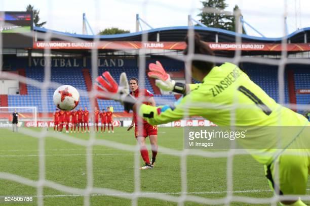 Silvia Meseguer of Spain misses penalty goalkeeper Manuela Zinsberger of Austria women during the UEFA WEURO 2017 quarter finale match between...