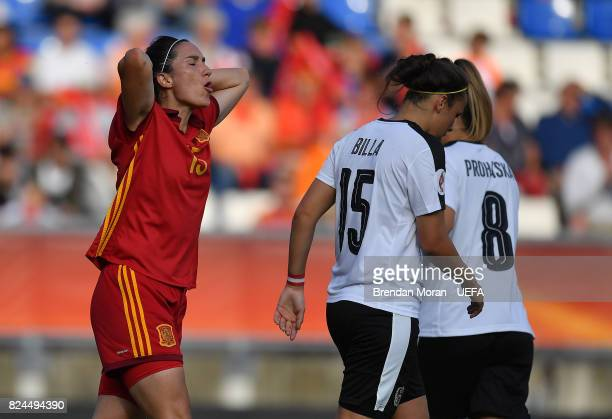 Silvia Meseguer of Spain reacts to a missed chance during the UEFA Women's EURO 2017 Quarterfinal match between the Austria and Spain at Koning...