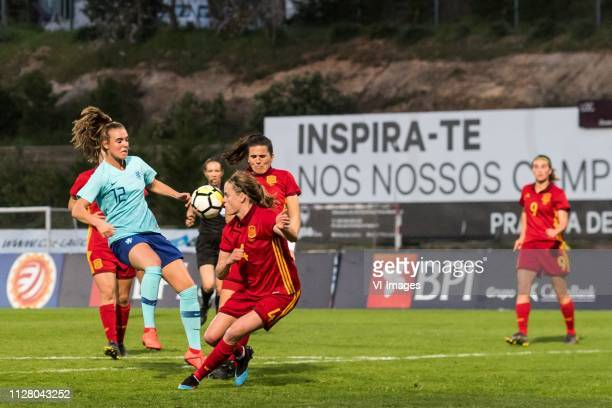 Silvia Meseguer of Spain women Jill Roord of Holland Women Irene Paredes of Spain women Andrea Pereira of Spain women during the Algarve Cup 2019...