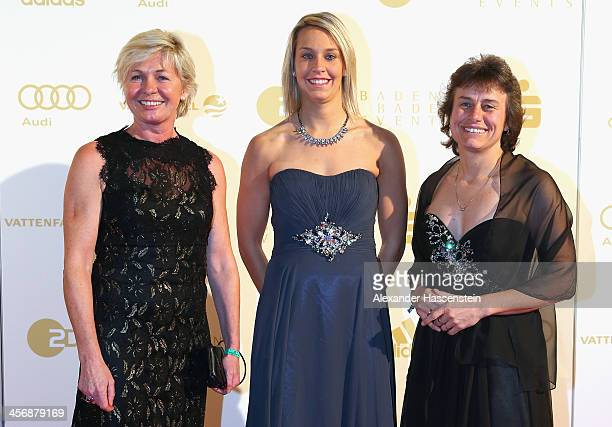 Silvia Neid attends with Lena Goessling and Ulrike Ballweg the Sportler des Jahres 2013 gala at the Kurhaus BadenBaden on December 15 2013 in...