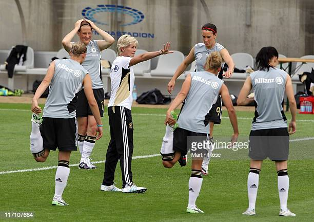 Silvia Neid head coach of Germany gives instructions during the Germany Women national team training session at Wurfplatz stadium on June 22 2011 in...