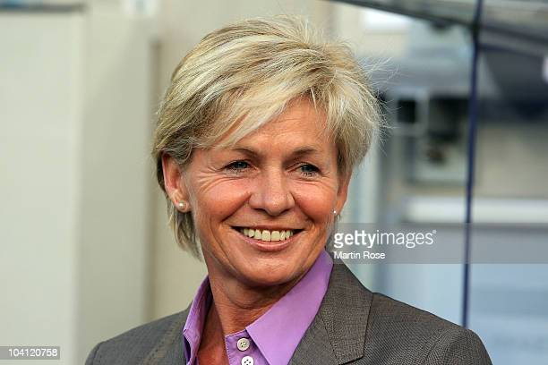 Silvia Neid head coach of Germany looks on before the Women's International Friendly match between Germnay and Canada at Rudolf Harbig stadium on...