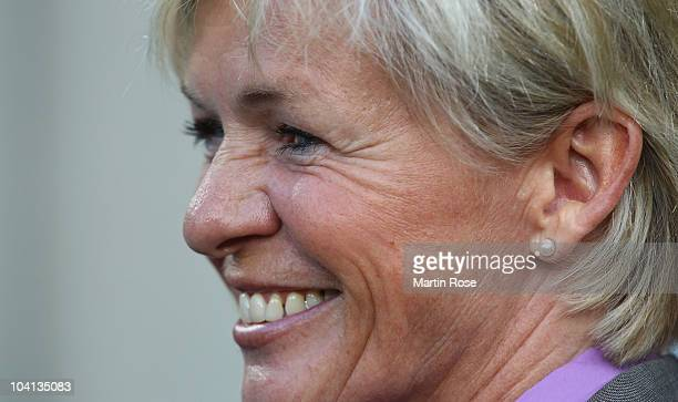 Silvia Neid, head coach of Germany looks on before the Women's International Friendly match between Germnay and Canada at Rudolf Harbig stadium on...