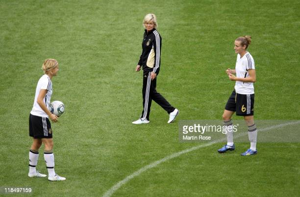 Silvia Neid head coach of Germany looks on during the Germany training session at Wolfsburg Arena on July 8 2011 in Wolfsburg Germany