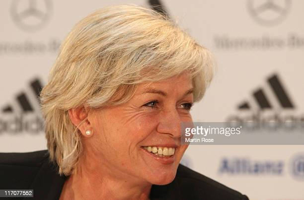 Silvia Neid head coach of Germany looks on during the Germany Women national team press conference at Mercedes Welt Berlin on June 21 2011 in Berlin...