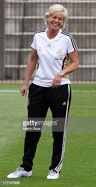 Silvia Neid head coach of Germany looks on during the Germany Women national team training session at Wurfplatz stadium on June 22 2011 in Berlin...