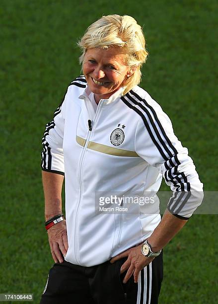 Silvia Neid head coach of Germany looks on during the training session of Germany at Vaxjo Arena on July 20 2013 in Vaxjo Sweden