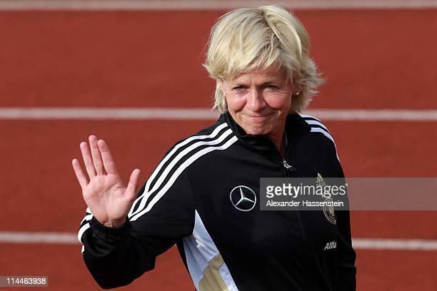 Silvia Neid head coach of Germany smiles during a training session of Germany at adidas headquater on May 20 2011 in Ingolstadt Germany