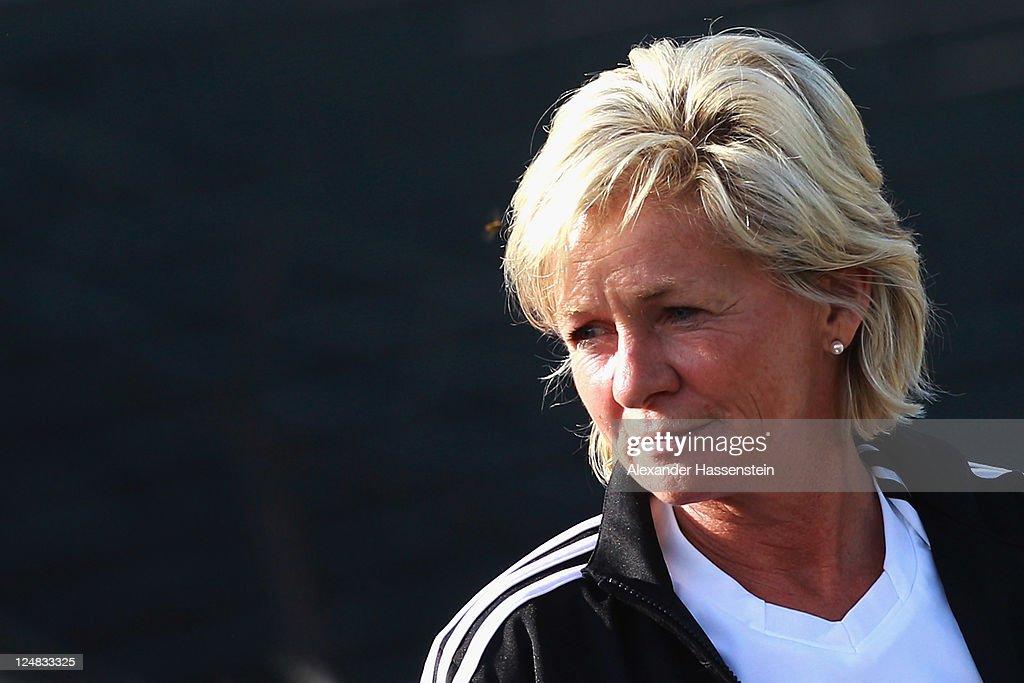 Silvia Neid, head coach of team Germany looks on prior to the team presentation of the German Women's national team at Rosenau Stadium on September 13, 2011 in Augsburg, Germany.