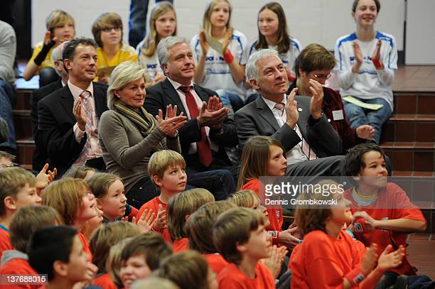 Silvia Neid head coach of the German women's national football team reacts during a school visit at Nepomucenum Gymnasium on January 25 2012 in...