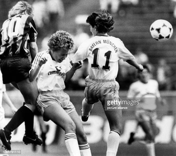 Silvia Neid playing for TSV Siegen scores the 20 against Bayern Munich in the cup final in Berlin 28 May 1988 Petra Sandles and Margit Heel came to...