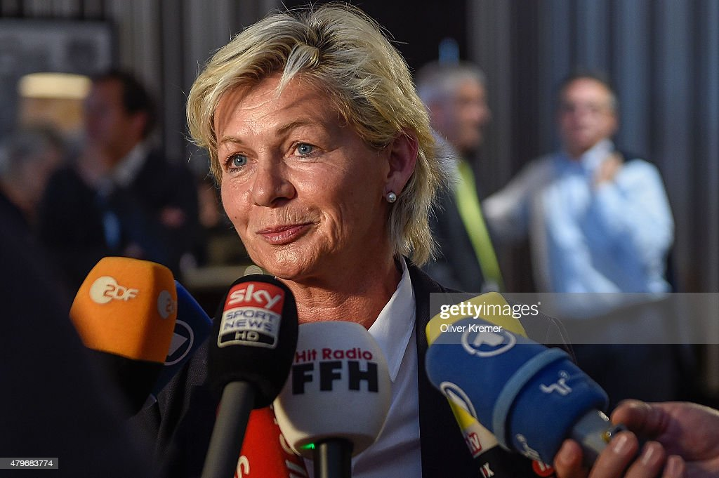 Silvia Neid talks to the media after the German team returned from the FIFA Women's World Cup in Canada at Frankfurt International Airport on July 6, 2015 in Frankfurt am Main, Germany. Germany missed out on third place in the tournament after being beaten by England.
