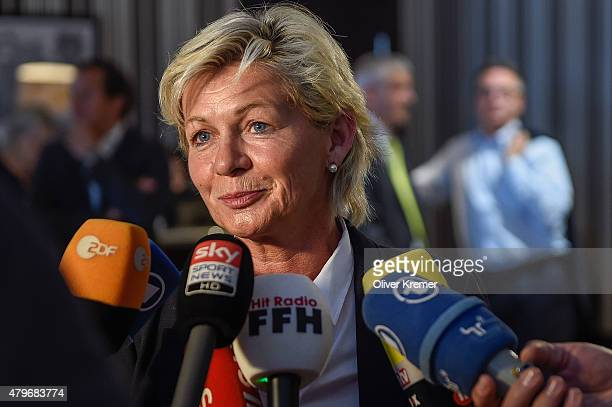 Silvia Neid talks to the media after the German team returned from the FIFA Women's World Cup in Canada at Frankfurt International Airport on July 6...