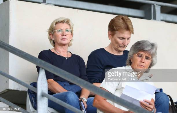 Silvia Neid watches from the stands during the FIFA U20 Women's World Cup France 2018 Quarter Final quarter final match between Germany and Japan at...