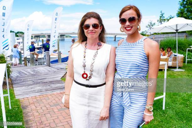 Silvia Nordio and Elizabeth Hurley attend Allied Marine Yacht Hop In Sag Harbor at Sag Harbor Cove Marina on June 30 2019 in Sag Harbor NY