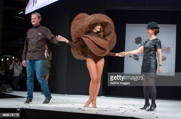 Silvia Notargiacomo wearing the dress of Laurence Bossion and Patrick Chapon during the 23nd Chocolate Fair 2017 fashion show in Paris