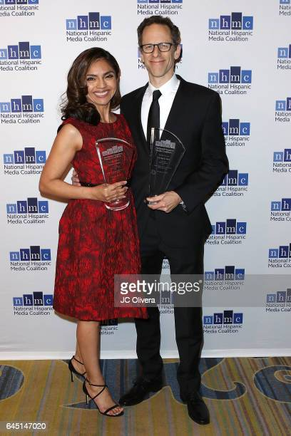 Silvia Olivas and Craig Berger win 'The Outstanding Animated Series Impact Award' for 'Elena of Avalor' during the 20th Annual National Hispanic...