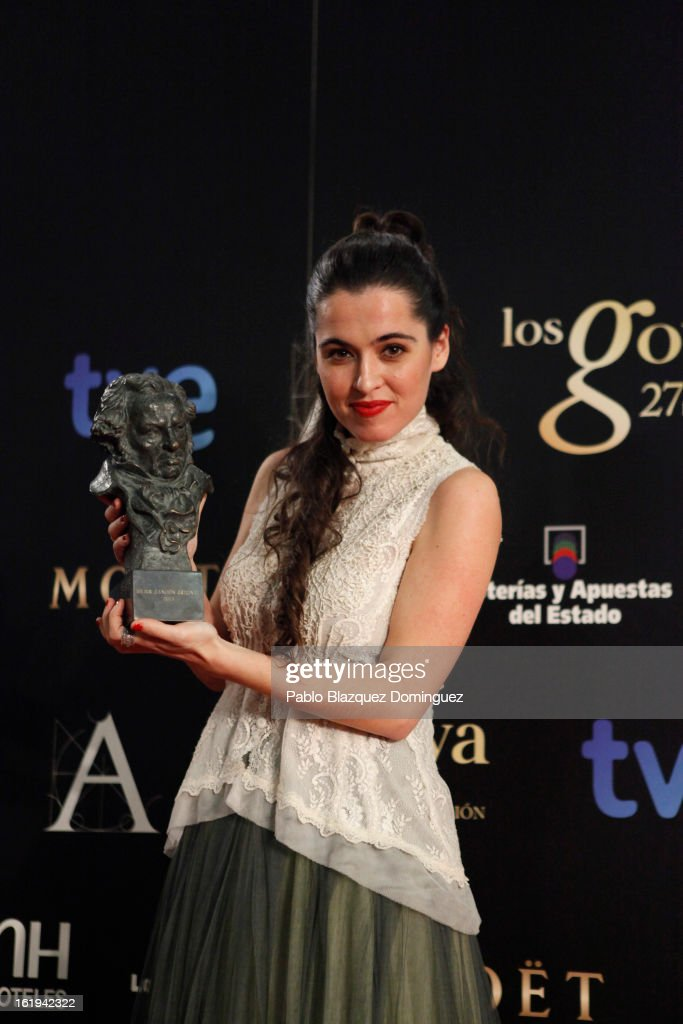 Silvia Perez Cruz holds his award for Best Original Song in the film 'Blancanieves' during the 2013 edition of the 'Goya Cinema Awards' ceremony at Centro de Congresos Principe Felipe on February 17, 2013 in Madrid, Spain.