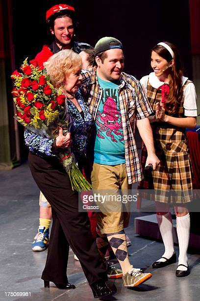 Silvia Pinal and Juan Torres during a tribute to Silvia Pinal in the play Spelling Bee on July 29 2013 in Mexico City Mexico