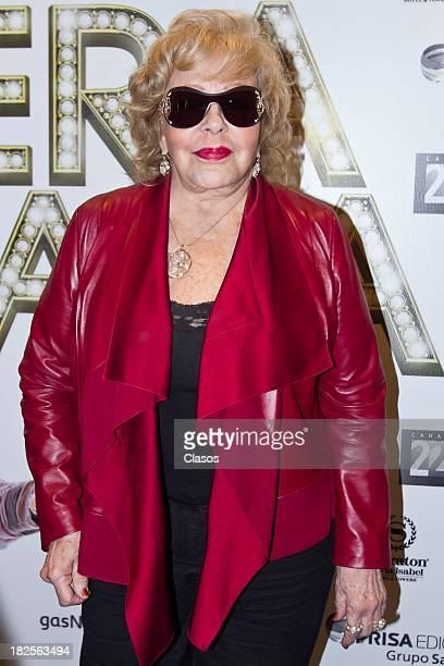 Silvia Pinal poses during a press conference of te Mexican film Tercera Llamada at the Maria Isabel Sheraton Hotel on September 30 2013 in Mexico...