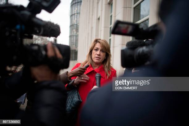 Silvia Pinera attorney of Juan Angel Napout of Paraguay one of three defendants in the FIFA scandal on trial in Brooklyn speaks to reporters at the...