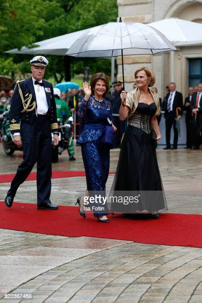Silvia Queen von Sweden and Karin Seehofer attend the Bayreuth Festival 2017 Opening on July 25, 2017 in Bayreuth, Germany.