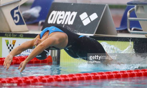 Silvia Scalia competes in the women's 50m backstroke during the international swimming trophy Frecciarossa Settecolli in Rome Italy on August 12 2020
