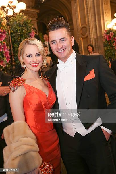 Silvia Schneider and Andreas Gabalier attend the traditional Opera Ball Vienna at State Opera Vienna on February 12 2015 in Vienna Austria