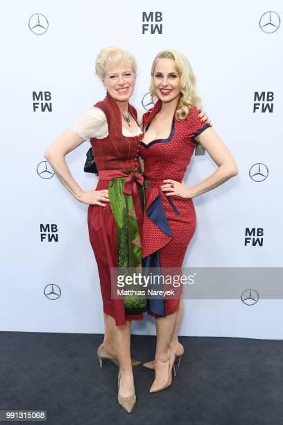 Silvia Schneider and her mother Martha Schneider attend the Sportalm Kitzbuehel show during the Berlin Fashion Week Spring/Summer 2019 at ewerk on...