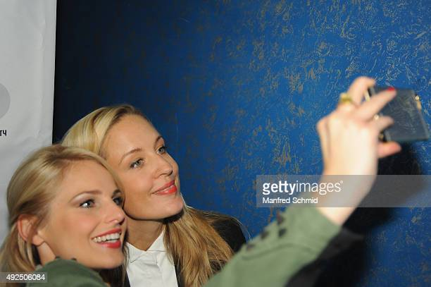 Silvia Schneider and Lilian Klebow pose for a selfie during the 'Beautiful Girl' Vienna premiere at UCI Kinowelt Millenium City on October 13 2015 in...