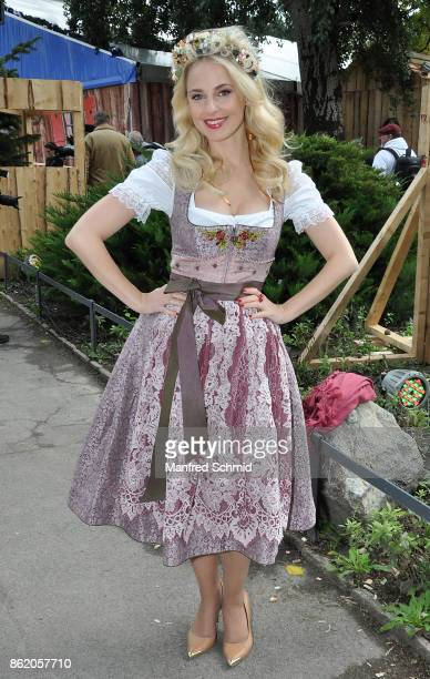 Silvia Schneider poses during the opening of Wiener WiesnFest 2017 at Kaiserwiese on September 21 2017 in Vienna Austria