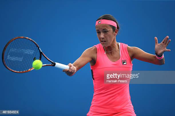 Silvia SolerEspinosa of Spain plays a forehand in their first round doubles match with MariaTeresa TorroFlor of Spain against Timea Bacsinszky of...