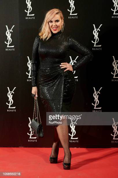 Silvia Superestar attends the YVES SAINT LAURENT THE SLIM Rouge PurCouture party photocall at Santona Palace in Madrid on October 6 2018