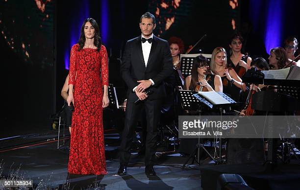 Silvia Toffanin and Alvis attend the 23rd Christmas Concert at Auditorium Conciliazione on December 12, 2015 in Rome, Italy.