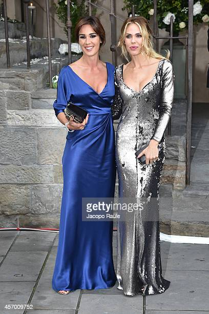 Silvia Toffanin and Ilary Blasi attend the Michelle Hunziker Wedding With Tomaso Trussardi at Palazzo della Ragione on October 10, 2014 in Bergamo,...